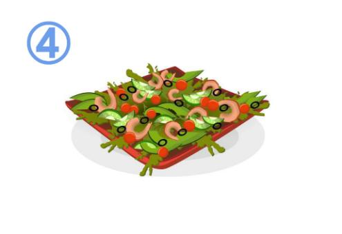 オリーブ、エビ、キュウリ等のサラダ