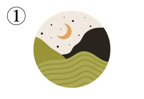 抹茶色の山と砂漠、黒い山と星、オレンジの月が描かれたアイコン