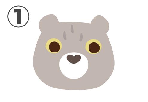 少し下を見るグレージュのクマ