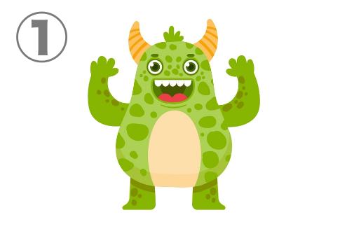 大きめの角2つ、キラキラした笑顔、緑の斑模様のモンスター