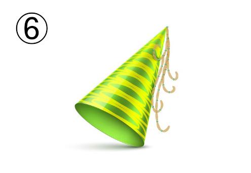 黄緑と黄色のボーダーのパーティー帽
