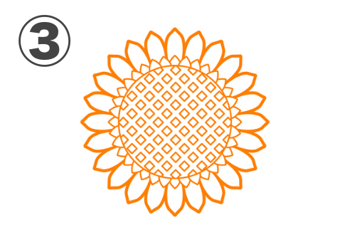 花びら白抜き、中心部がダイヤドット柄なひまわり