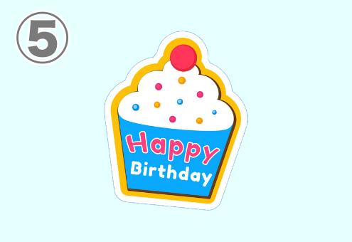 Happybirthdayと書かれたカップケーキスタンプ