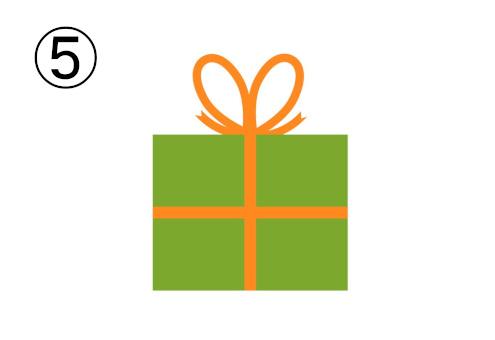 オレンジリボン、抹茶色のプレゼント
