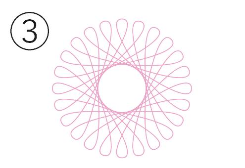輪っかの小さめなピンクの線の花