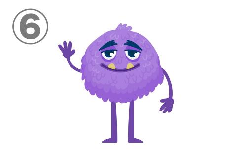 困り眉、牙が特徴の、丸い紫のモンスター