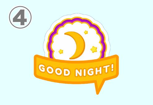 Goodnightと書かれた、吹き出しと月のスタンプ
