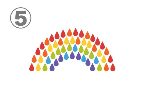 雫が集まってできた虹