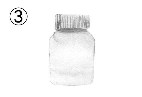 白い蓋の透明なボトル