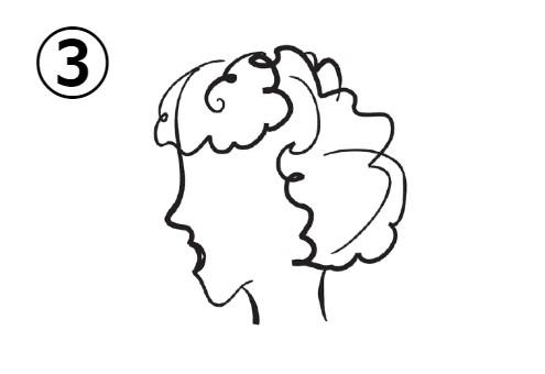 パーマのかかった上の、口を開けた女性の横顔