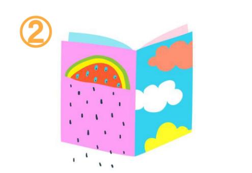 左はピンク地にスイカ、右は水色にオレンジ、白、黄色の雲柄、中は薄ピンク、水色の本