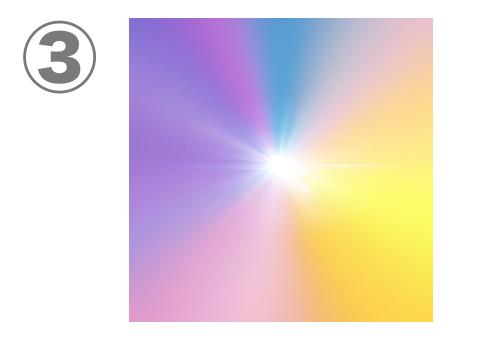 紫、青、ピンク、オレンジ、黄色のグラデーション