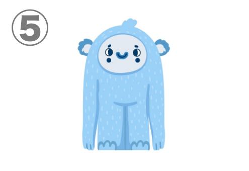 クマと雪男を混ぜたような、水色のモンスター