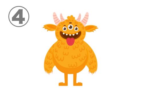 目が3つ、角4つ、舌を出した毛のあるオレンジのモンスター