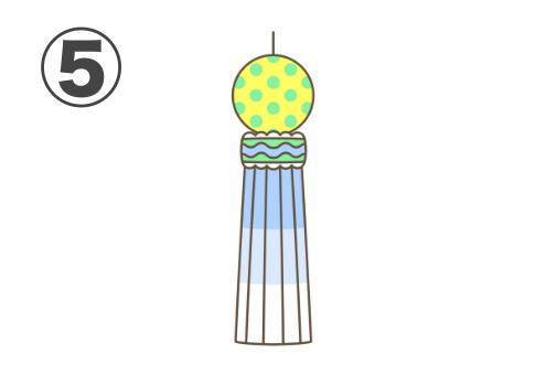 水色と黄色メインの、蛍光緑ドット柄の七夕飾り