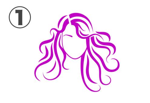 カールして広がったピンクのロングヘアのの女性