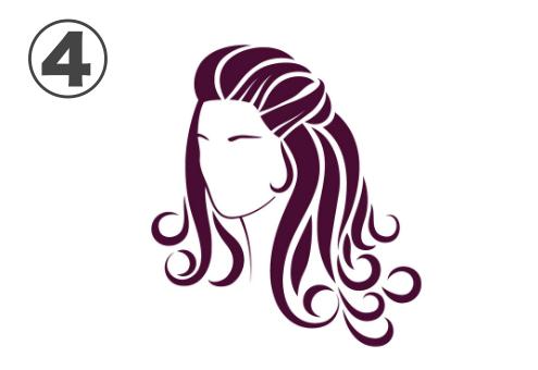おでこを出したワインレッドヘアの女性