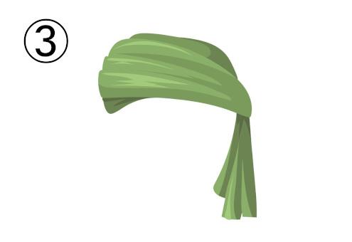 裾が垂れた緑のターバン