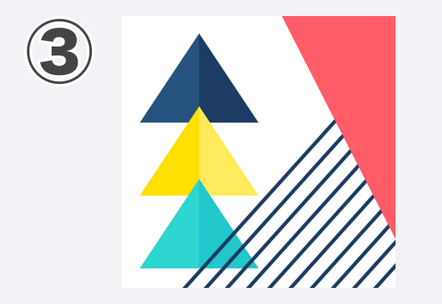 ネイビー、黄色、エメラルド、赤三角、斜線