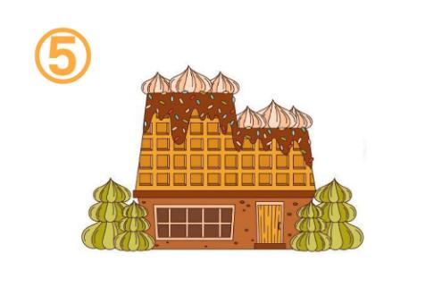 両側にクリームの木、屋根にクリームとチョコがかかったお菓子の家