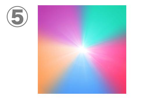 紫、緑、ピンク、青、オレンジのグラデーション