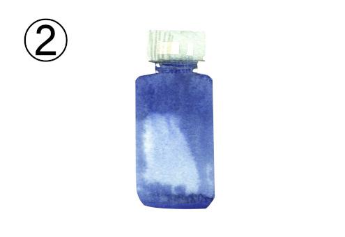 白キャップの青いボトル