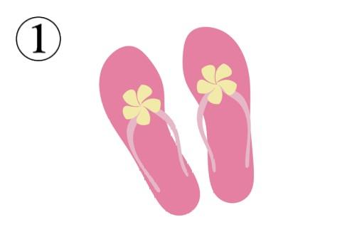 黄色い花付きの濃いピンクのビーチサンダル