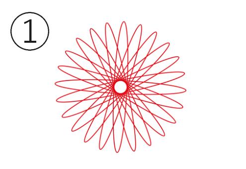 尖り気味な輪っかの赤い線の花