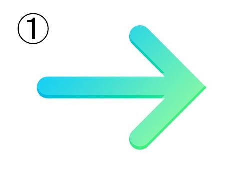 水色から緑のグラデーションの矢印