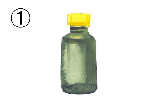 黄色キャップの抹茶色ボトル