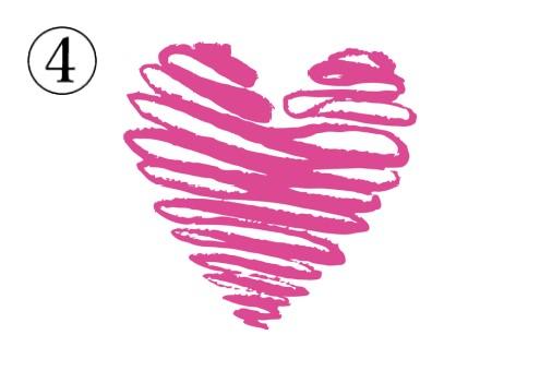 横向きに回転して塗り進めたピンクのハート
