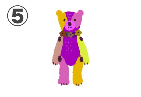 黄色、レモン色、紫、ピンク、ベージュのクマちゃん