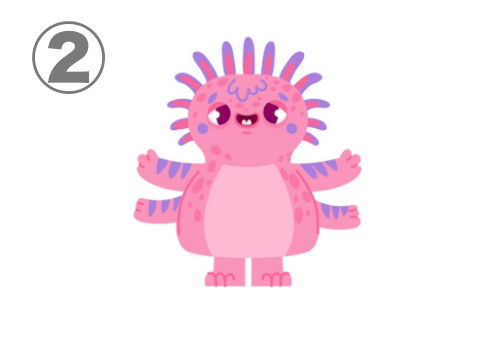 手が4つ、沢山の触覚、困り眉のピンクのモンスター