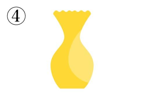口が波打っている、中心がすぼんだ黄色い花瓶