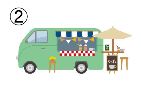 カジュアルなカフェのフードトラック