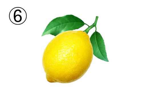 葉っぱと茎のついたレモン