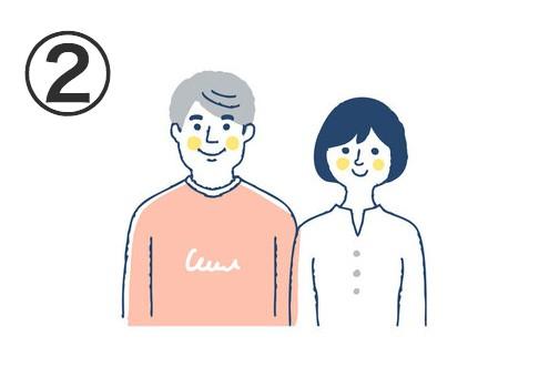 コーラルトレーナー、グレーヘアの男性と、白トップス、黒ショートヘアの女性