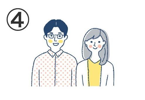 黄色ドットシャツ、黒髪センター分け、メガネをかけた男性と、グレーのセミロングヘア、黄色トップスに白のアウターの女性