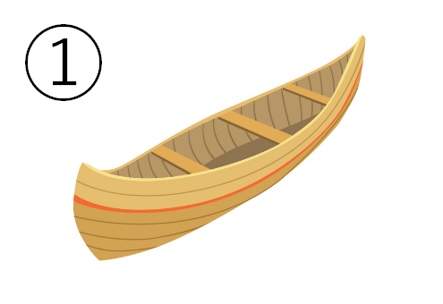 木の三人乗りカヌー