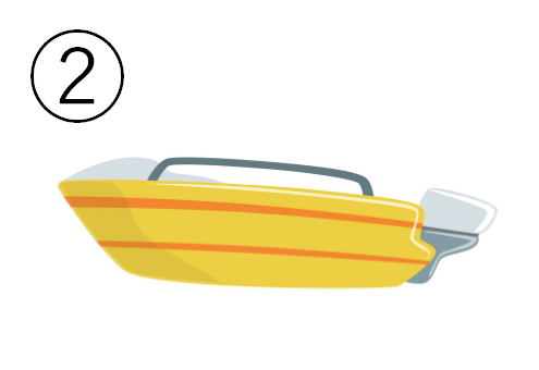 黄色にオレンジラインの、小型ボート