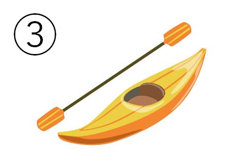黄色とオレンジの一人乗りカヌー