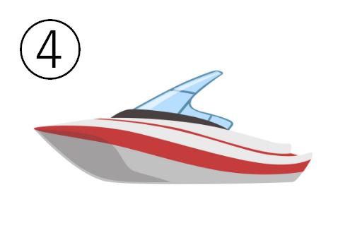 赤いラインが入ったモーターボート