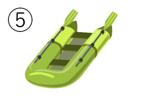 黄緑の細長いゴムボート