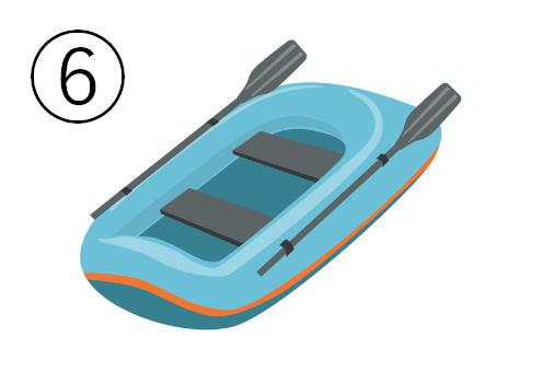 水色の二人乗りゴムボート