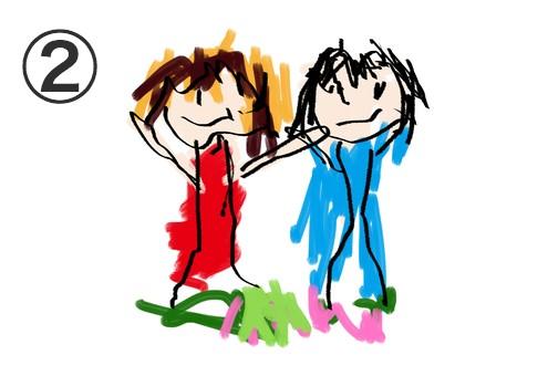 男女2人並んだ、マーカー彩色の絵