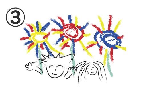 クレヨンで描いた花火が上がる絵