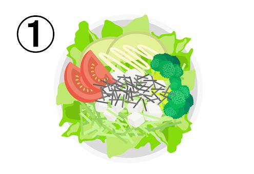 レタス、トマト、アボカド、ブロッコリー、チーズ、刻み海苔のサラダ