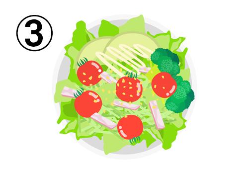 レタス、ミニトマト、アボカド、ブロッコリー、ハムのサラダ