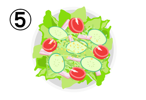 レタス、ミニトマト、キュウリ、ハムのサラダ