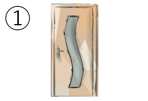 浅いS字窓のついたドア